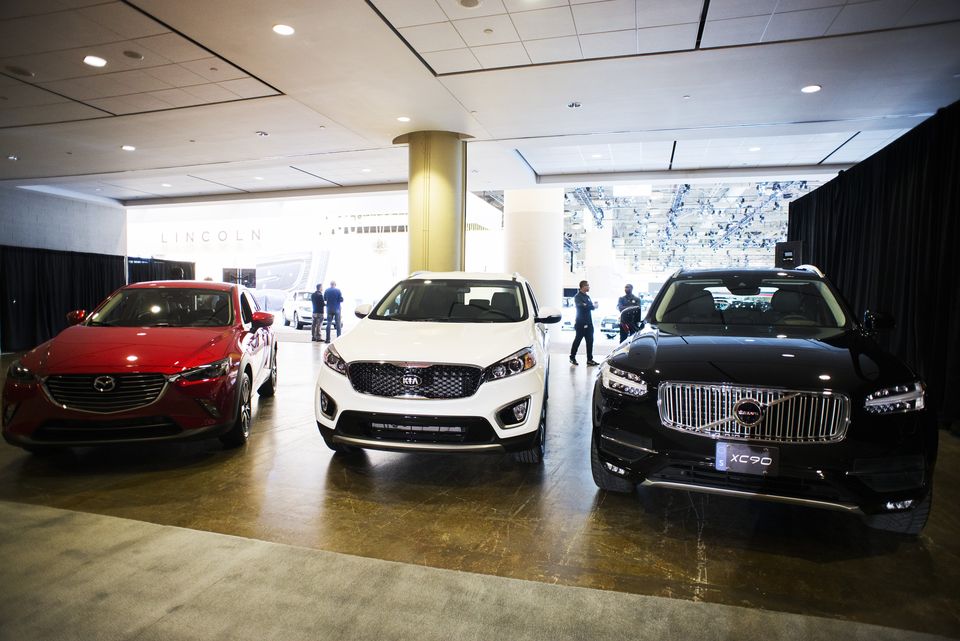 Finalists for the 2016 Canadian Utility Vehicle of the Year (L to R) Mazda CX-3, Kia Sorento and Volvo 
