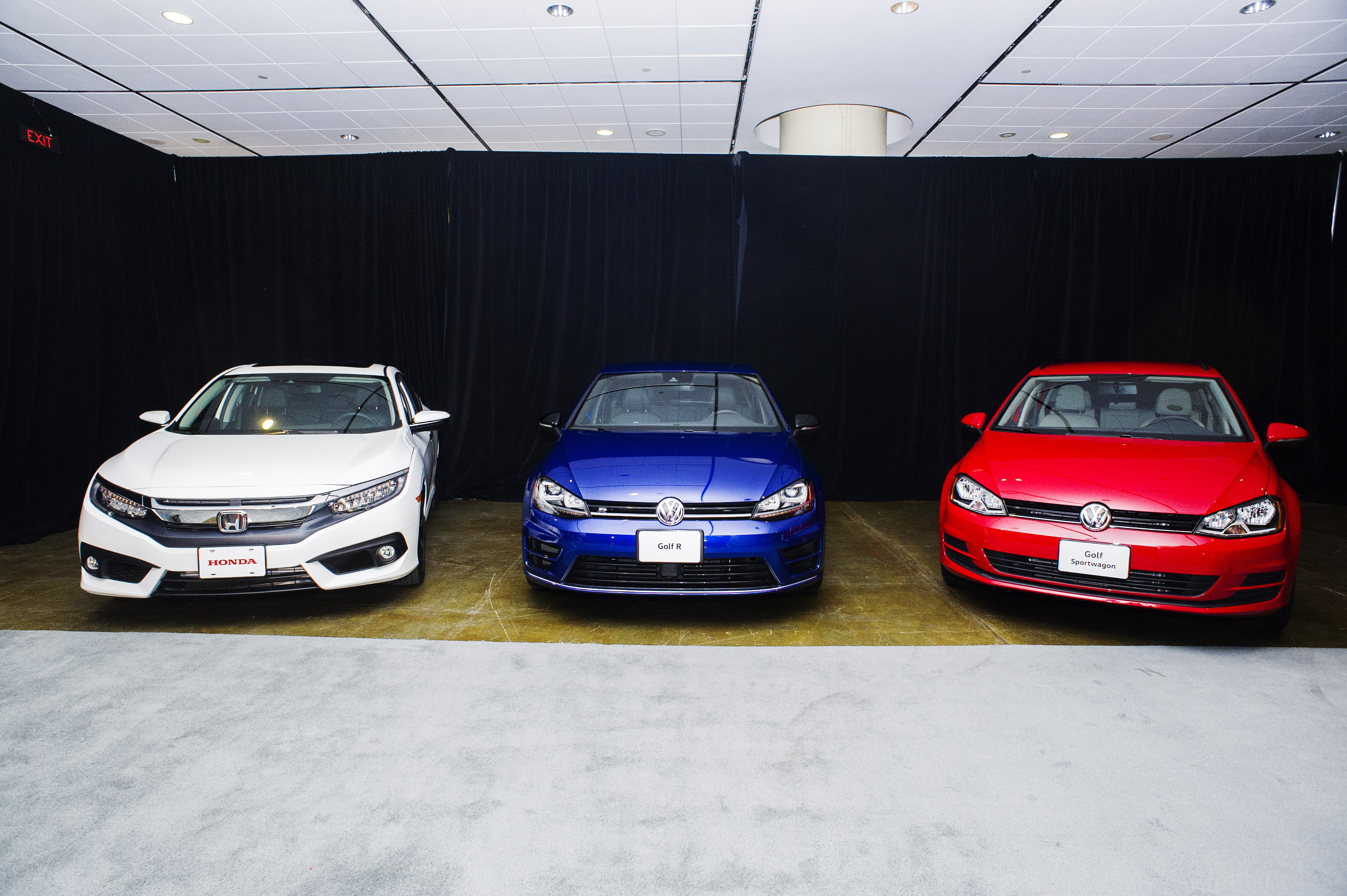 Finalists for the 2016 Canadian Car of the Year title (L to R) Honda Civic, Volkswagen, Golf R Volkswagen and Golf Sportwagon.   (Photos By: Michelle Siu)