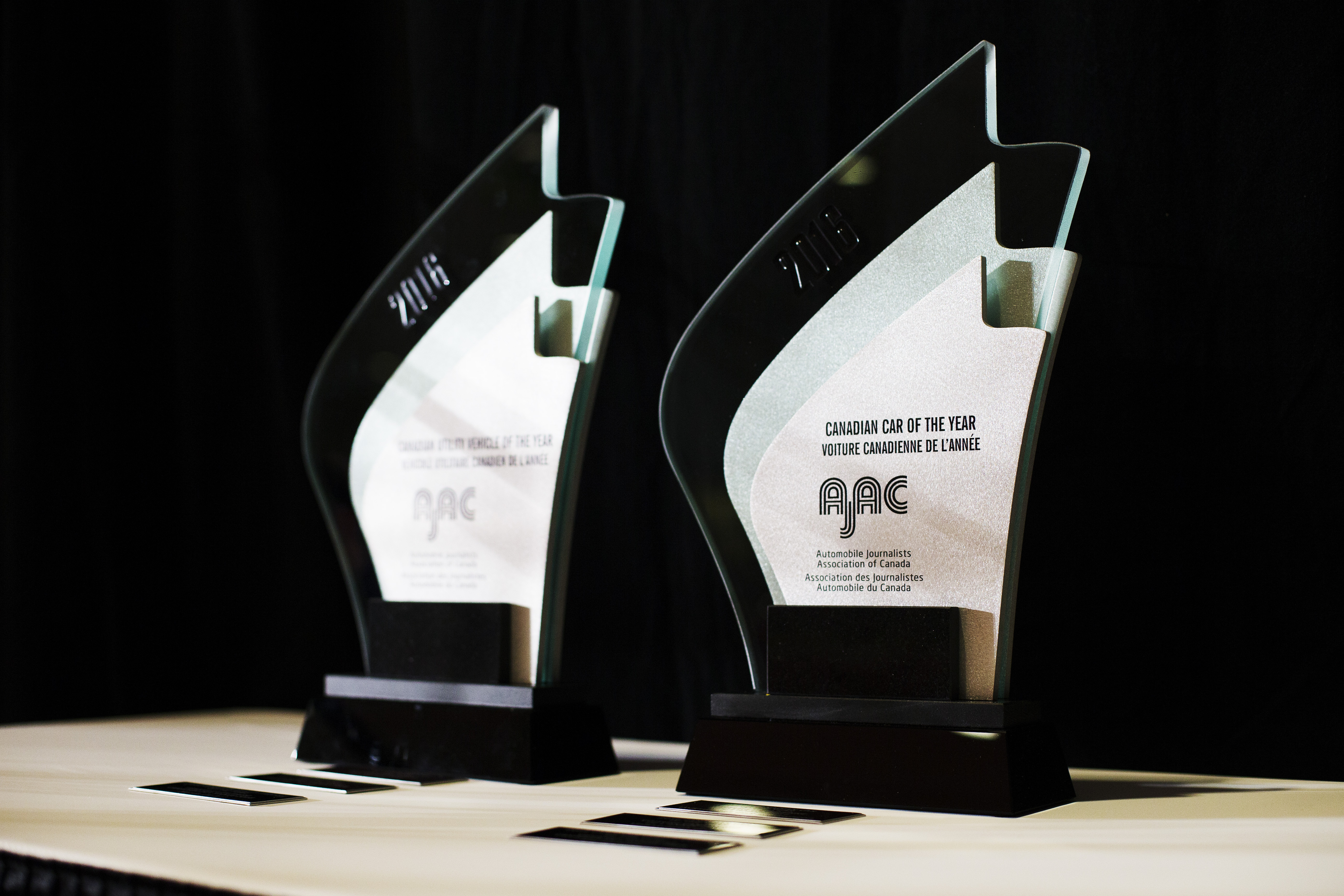 2016 Canadian Utility Vehicle of the Year and the 2016 Canadian Car of the Year trophies. (Photos By: Michelle Siu)